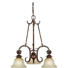 3 Light Chandelier with Umber Mist Glass Shades