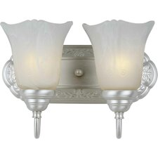 Two Light Vanity Light  with Marble Glass in Brushed Nickel