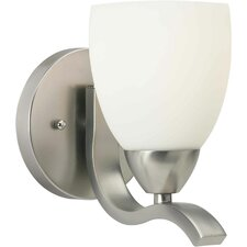 One Light Wall Sconce with Satin Opal Shade in Brushed Nickel