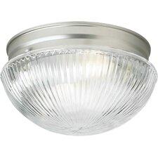 1 Light Flush Mount - Ribbed Glass