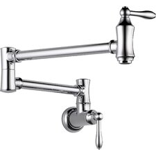 Traditional Double Handle Wall Mount Pot Filler Faucet