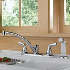 Foundations Double Handle Centerset Kitchen Faucet with Side Spray
