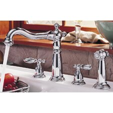 Victorian Double Handle Deck Mounted Kitchen Faucet with Spray