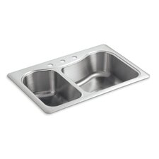 "Staccato 33"" x 22"" x 8-5/16"" Top-Mount Large/Medium Double-Bowl Kitchen Sink with 3 Faucet Holes"