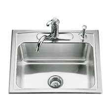 """Toccata 25"""" x 22"""" x 7-11/16"""" Top-Mount Single-Bowl Kitchen Sink with 4 Faucet Holes"""