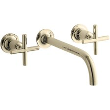 "Purist Wall-Mount Bathroom Sink Faucet Trim with 9"", 90-Degree Angle Spout and Cross Handles, Requires Valve"