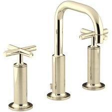 Purist Widespread Bathroom Sink Faucet with High Cross Handles and Low Gooseneck Spout