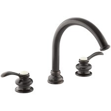 """Fairfax Deck-Mount Bath Faucet Trim with Lever Handles and Traditional 8-7/8"""" Non-Diverter Slip-Fit Spout, Valve Not Included"""