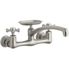 "Antique Two-Hole Wall-Mount Kitchen Sink Faucet with 8"" Spout, Soap Dish and 6-Prong Handles"