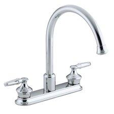 "Coralais Three-Hole Kitchen Sink Faucet with 9"" Gooseneck Spout, Requires Handles"