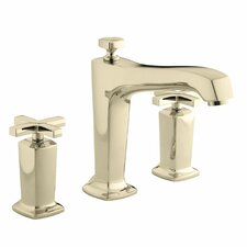 Margaux Deck-Mount Bath Faucet Trim for High-Flow Valve with Non-Diverter Spout and Cross Handles, Valve Not Included