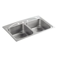 """Cadence 33"""" x 22"""" x 8-5/16"""" Top-Mount Double-Equal Kitchen Sink with 4 Faucet Holes"""