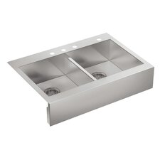 "Vault 35-3/4"" x 24-5/16"" x 9-5/16"" Top-Mount Double-Equal Stainless Steel Kitchen Sink with Shortened Apron-Front for 36""Cabinet"