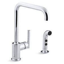"""Purist Two-Hole Kitchen Sink Faucet with 8"""" Spout and Matching Finish Sidespray"""