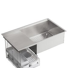 "Stages 33"" x 18-1/2"" x 9-13/16"" Under-Mount Single-Bowl with Wet Surface Area Kitchen Sink"