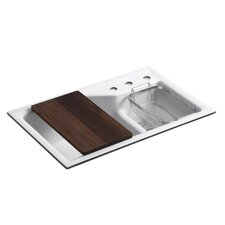 """Indio 33"""" x 21-1/8"""" x 9-3/4"""" Under-Mount Smart Divide Large/Small Double-Bowl Kitchen Sink with Three-Hole Faucet Holes"""