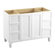 "Damask 48"" Vanity with Furniture Legs, 2 Doors and 6 Drawers, Split Top Drawers"