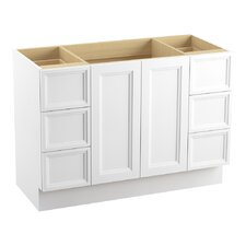 "Damask 48"" Vanity Base with Toe Kick, 2 Doors and 6 Drawers, Split Top Drawers"