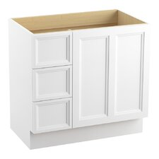"""Damask 36"""" Vanity Base with Toe Kick, 1 Door and 3 Drawers on Left"""