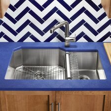 """Strive 35-1/2"""" x 20-1/4"""" x 9-5/16"""" Under-Mount Extra-Large/Medium Double-Bowl Kitchen Sink with Basin Rack"""
