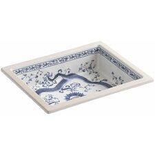 """Imperial Blue Design On Kathryn Undermount Bathroom Sink, 17"""" x 13"""""""