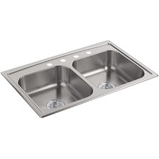 """Toccata 33"""" x 22"""" x 6"""" Top-Mount Double-Equal Bowl Kitchen Sink"""