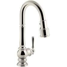 Artifacts Single-Hole Kitchen Sink Faucet with Pull-Down Spout and Turned Lever Handle