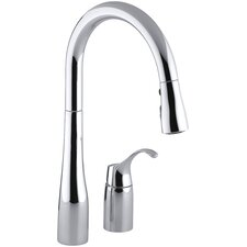 """Simplice Two-Hole Kitchen Sink Faucet with 16-1/8"""" Pull-Down Swing Spout, Docknetik Magnetic Docking System, and A 3-Function Sprayhead Featuring The New Sweep Spray"""