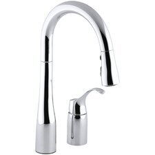 """Simplice Two-Hole Kitchen Sink Faucet with 14-3/4"""" Pull-Down Swing Spout, Docknetik Magnetic Docking System, and A 3-Function Sprayhead Featuring The New Sweep Spray"""