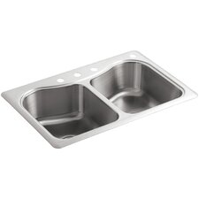 """Staccato 33"""" x 22"""" x 8-5/16"""" Top-Mount Double-Equal Bowl Kitchen Sink with 4 Faucet Holes"""
