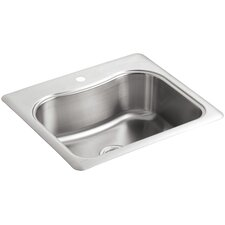 "Staccato 25"" x 22"" x 8-5/16"" Top-Mount Single-Bowl Kitchen Sink with Single Faucet Hole"