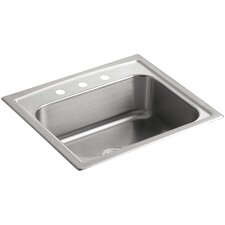 """Toccata 25"""" x 22"""" x 7-11/16"""" Top-Mount Single-Bowl Kitchen Sink with 3 Faucet Holes"""