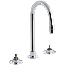Triton Widespread Commercial Bathroom Sink with Gooseneck Spout and Rigid Connections, Requires Handles, Drain Not Included
