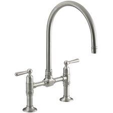"""Hirisetwo-Hole Deck-Mount Bridge Kitchen Sink Faucet with 10-1/4"""" Gooseneck Spout and Lever Handles"""