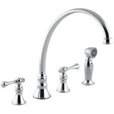 """Revival 4-Hole Kitchen Sink Faucet with 11-13/16"""" Spout, Matching Finish Sidespray and Traditional Lever Handles"""