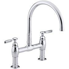 "Parq Two-Hole Deck-Mount Kitchen Sink Faucet with 9"" Gooseneck Spout and Lever Handles"