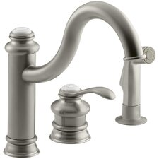 """Fairfax Three-Hole Remote Valve Kitchen Sink Faucet with 9-3/8"""" Spout and Matching Finish Sidespray"""