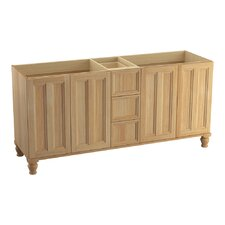 """Damask 72"""" Vanity with Furniture Legs, 4 Doors and 3 Drawers, Split Top Drawer"""