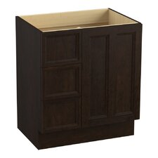 """Damask 30"""" Vanity Base with Toe Kick, 1 Door and 3 Drawers on Left"""