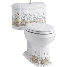 English Trellis Design on White Background Portrait Comfort Height 1 Piece Compact Elongated 1.28 gpf Toilet with Aquapiston Flush Technology and Lift Knob Actuator