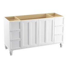 """Damask 60"""" VVanity Base with Furniture Legs, 2 Doors and 6 Drawers, Split Top Drawers"""