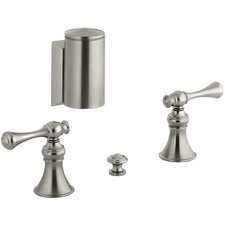 Revival Below-The-Rim Horizontal Swivel Spray Bidet Faucet with Traditional Lever Handles
