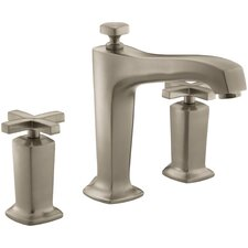 Margaux Deck-Mount Bath Faucet Trim for High-Flow Valve with Diverter Spout and Cross Handles, Valve Not Included
