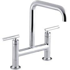 Purist Two-Hole Deck-Mount Bridge Kitchen Sink Faucet
