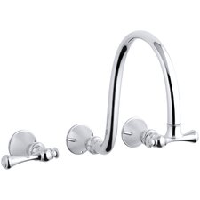 "Revival Wall-Mount Bathroom Sink Faucet Trim with Traditional Lever Handles and 12"" Spout, Requires Valve"