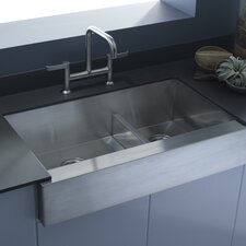 """Vault 35-1/2"""" x 21-1/4"""" x 9-5/16"""" Under-Mount Smart Divide Large/Medium Double-Bowl Kitchen Sink, Stainless Steel with Shortened Apron-Front for 36"""" Cabinet"""