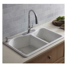 """Lawnfield 33"""" x 22"""" x 9-5/8"""" Top-Mount Large/Medium Double-Bowl Kitchen Sink with 4 Faucet Holes"""