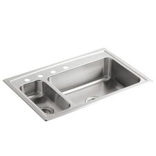 """Toccata 33"""" x 22"""" x 7-11/16"""" Top-Mount High/Low Double-Bowl Kitchen Sink with Disposal Bowl and 4 Faucet Holes On The Left"""