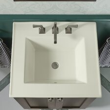 """Ceramic/Impressions 25"""" Rectangular Vanity-Top Bathroom Sink with 8"""" Widespread Faucet Holes"""