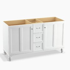 """Damask 60"""" Vanity Base with Furniture Legs, 2 Doors and 3 Drawers, Split Top Drawer"""